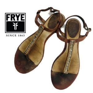 Frye Beaded Leather Gladiator Sandals Sz 7